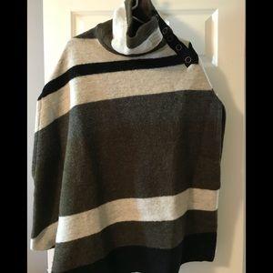 Anthropologie wool stripe poncho
